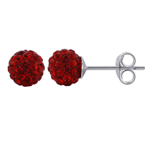 6mm Round Red Crystal Ball Post Back Finding Sterling Silver Stud Earrings