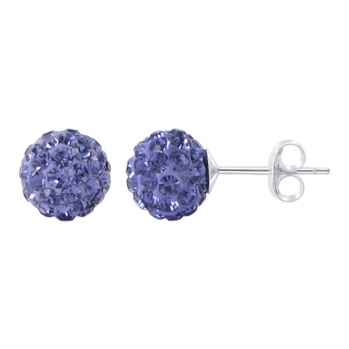 6mm Round Blue Crystal Ball Post Back Finding 925 Silver Stud Earrings