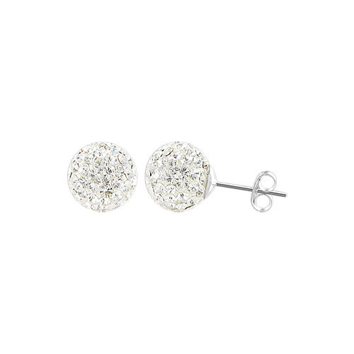 6mm Round Clear Crystal Ball Post Back Finding Sterling Silver Stud Earrings