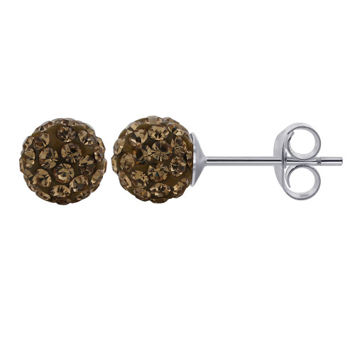 925 Silver Round Brown Crystal Ball Stud Earrings