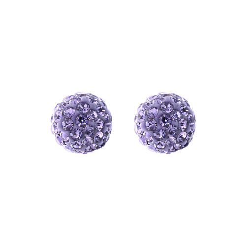 6mm Round Purple Crystal Ball Stud Earrings
