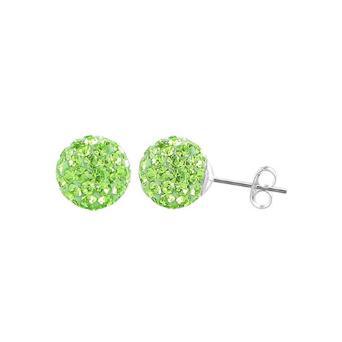 8mm Round Green Crystal Ball Post Back Finding Sterling Silver Stud Earrings
