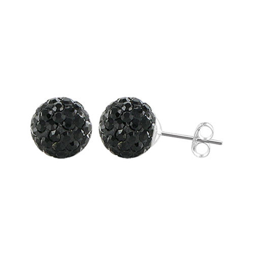 8mm Round Black Crystal Ball Post Back Finding Sterling Silver Stud Earrings