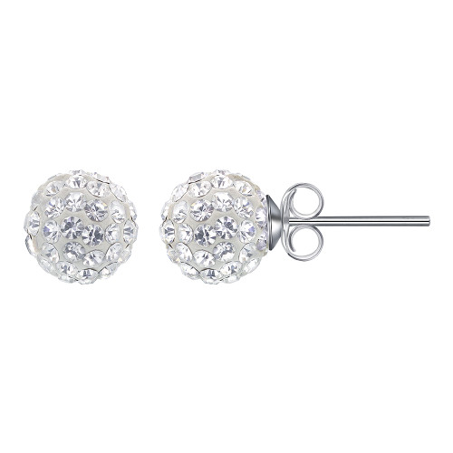 8mm Round Clear Crystal Ball Post Back Finding Sterling Silver Stud Earrings