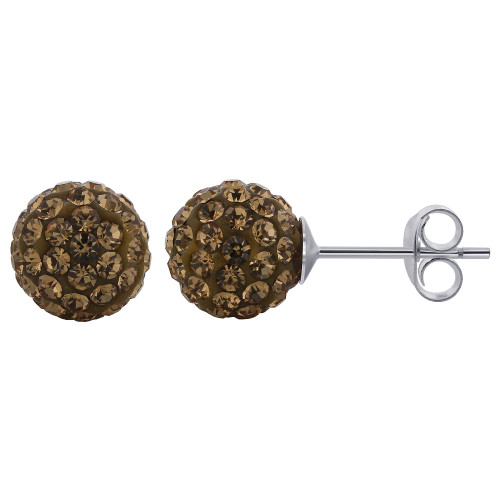 925 Silver Round Brown Crystal Ball Studs Earring