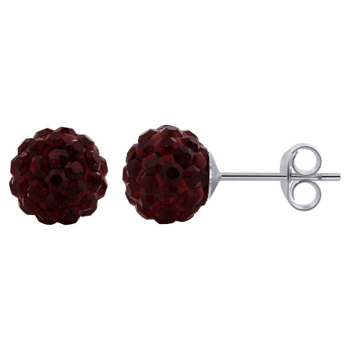 8mm Round Red Crystal Ball Post Back Finding 925 Silver Stud Earrings