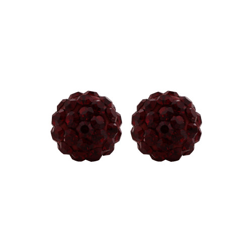 8mm Round Red Crystal Ball Stud Earrings
