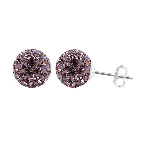8mm Round Lavender Crystal Ball Post Back Finding Sterling Silver Stud Earrings