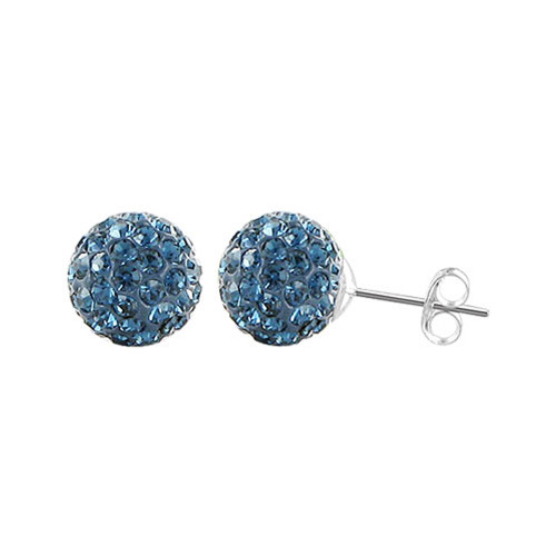 8mm Round Montana Blue Crystal Ball Post Back Finding Sterling Silver Stud Earrings