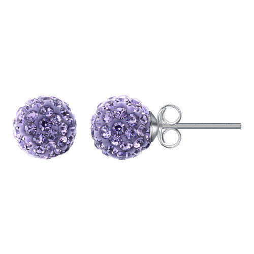 8mm Round Purple Crystal Ball Post Back Finding Sterling Silver Stud Earrings