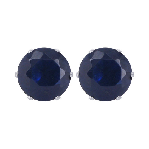 6mm Round Blue Sapphire Color Stud Earrings