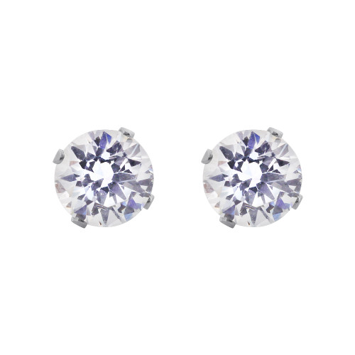 Cubic Zirconia April Birthstone 925 Silver Stud Earrings