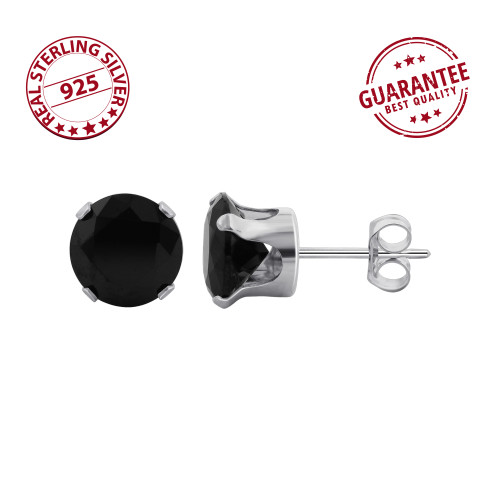 Black Cubic Zirconia Stud Earrings