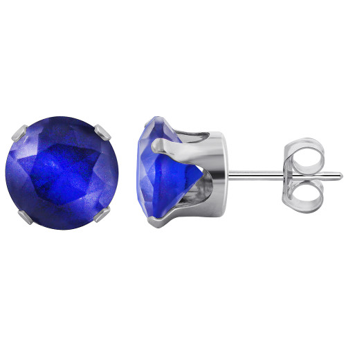 7mm Round Blue Sapphire Color Cubic Zirconia CZ September Birthstone Sterling Silver Stud Earrings