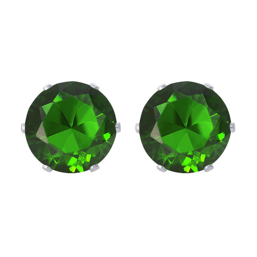 8mm Round Emerald Color CZ Stud Earrings