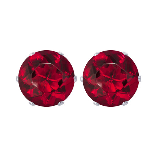 8mm Round Red CZ Stud Earrings