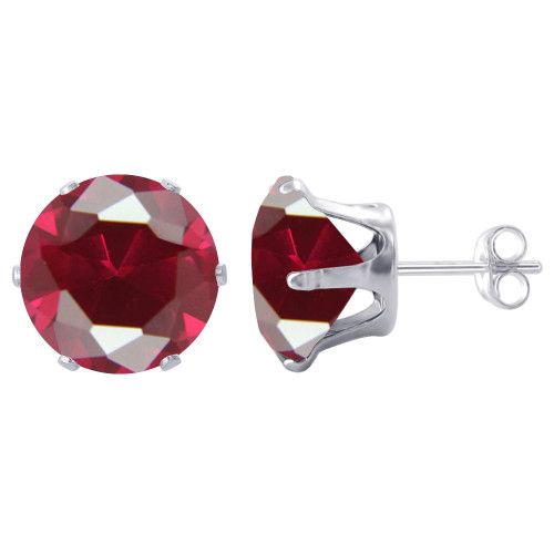 8mm Round Red Cubic Zirconia CZ July Birthstone Sterling Silver Stud Earrings