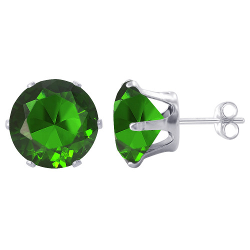7mm Round Emerald Color Cubic Zirconia CZ May Birthstone Sterling Silver Stud Earrings