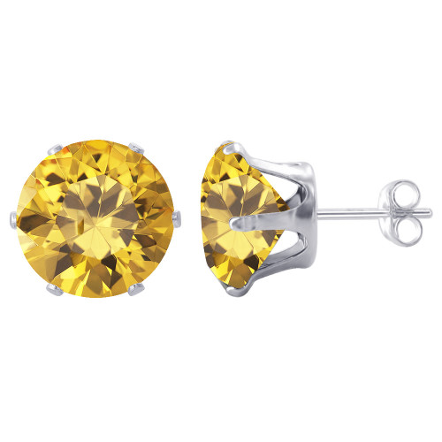 8mm Round Yellow Cubic Zirconia CZ November Birthstone Sterling Silver Stud Earrings