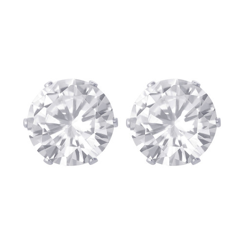 10mm Round Clear CZ Stud Earrings