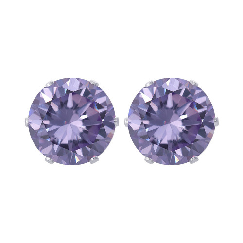 10mm Round Purple Cubic Zirconia CZ February Birthstone Sterling Silver Stud Earrings