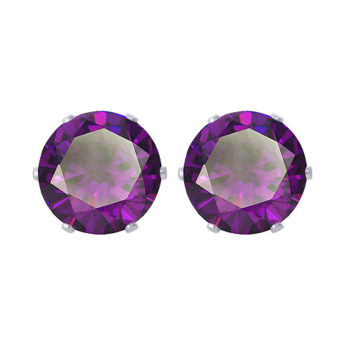 11mm Round CZ Purple Stud Earrings