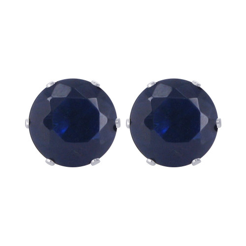 11mm Round Blue Sapphire CZ Stud Earrings