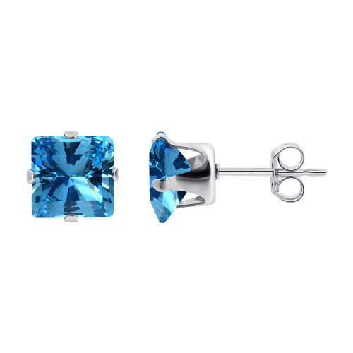 3mm Square Blue CZ Cubic Zirconia March Birthstone Sterling Silver Stud Earrings