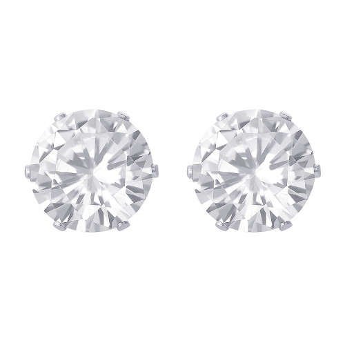 9mm Round Clear Cubic Zirconia CZ April Birthstone Sterling Silver Stud Earrings