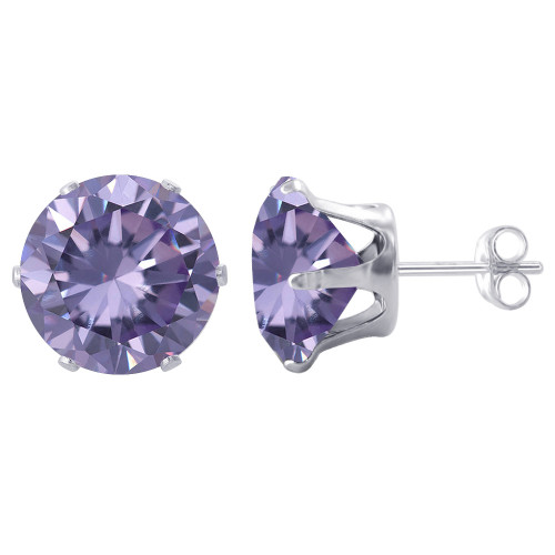 9mm Round Purple Cubic Zirconia February Birthstone Sterling Silver Stud Earrings