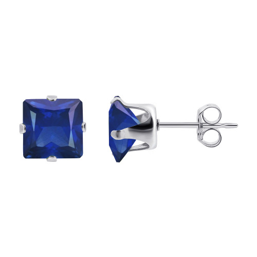 3mm Square Blue Sapphire Color September Birthstone Sterling Silver Stud Earrings