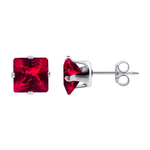 4mm Square Red July Birthstone Sterling silver Stud Earrings