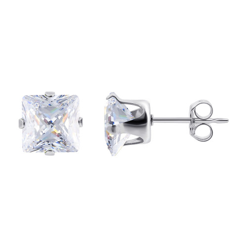 4mm Square Clear Cubic Zirconia CZ April Birthstone Sterling silver Stud Earrings