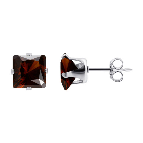 4mm Square Red January Birthstone Sterling silver Stud Earrings