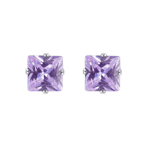 Purple Cubic Zirconia Sterling Silver Stud Earrings