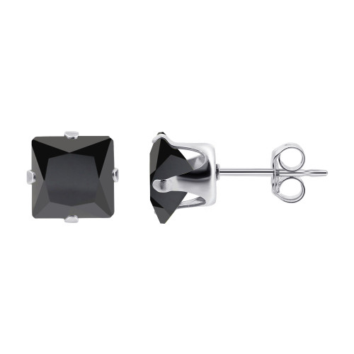 7mm Square Black Cubic Zirconia CZ Post Back Sterling Silver Stud Earrings