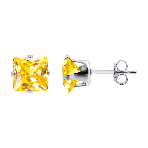 7mm Square Yellow Cubic Zirconia CZ November Birthstone Sterling silver Stud Earrings