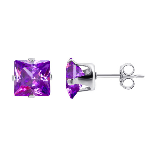 6mm Square Purple Cubic Zirconia February Birthstone Sterling silver Stud Earrings