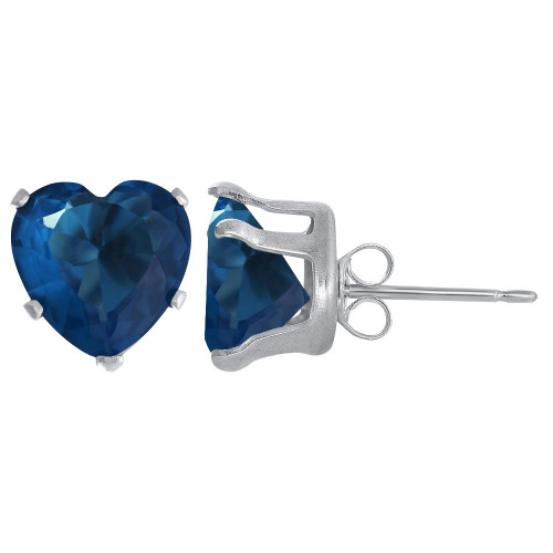 4mm Heart Shape Blue Zircon Color December Birthstone Sterling silver Stud Earrings