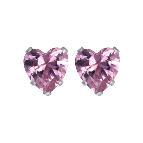 4mm Heart Shape Lavender Cubic Zirconia CZ 925 Silver Stud Earrings