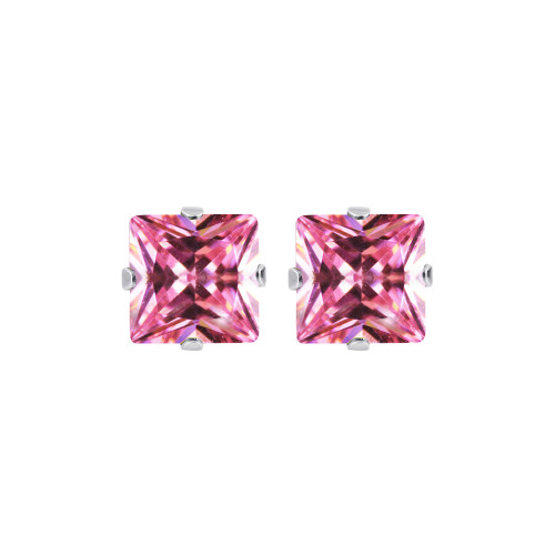 6mm Square Pink Cubic Zirconia CZ Post Back Sterling Silver Stud Earrings