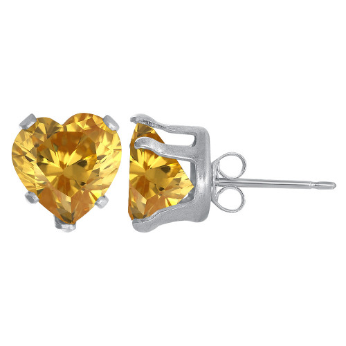 8mm Heart Shape Yellow Cubic Zirconia November Birthstone Sterling Silver Stud Earrings