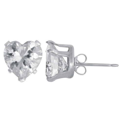 8mm Heart Shape Clear CZ Cubic Zirconia April Birthstone Sterling Silver Stud Earrings