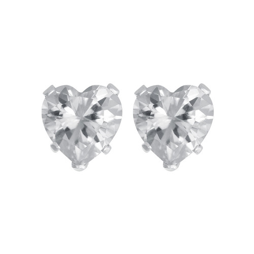Clear Cubic Zirconia Sterling Silver Stud Earrings
