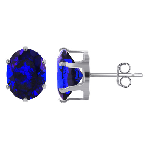 9 x 7mm Oval Blue Sapphire Color Cubic Zirconia September Birthstone Sterling Silver Stud Earrings