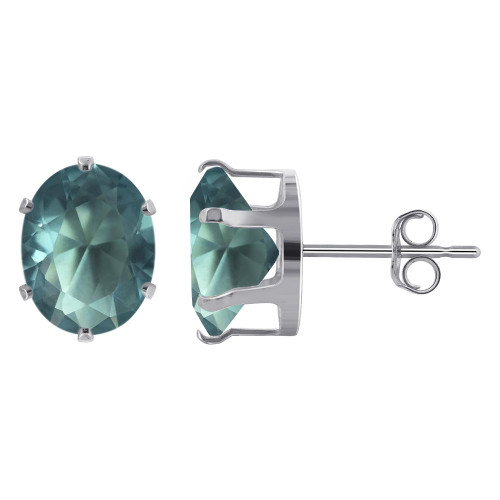 9 x 7mm Oval Aquamarine Color Cubic Zirconia CZ March Birthstone Sterling Silver Stud Earrings