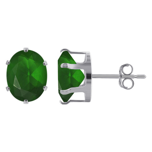 9 x 7mm Oval Emerald Color May Birthstone Sterling Silver Stud Earrings