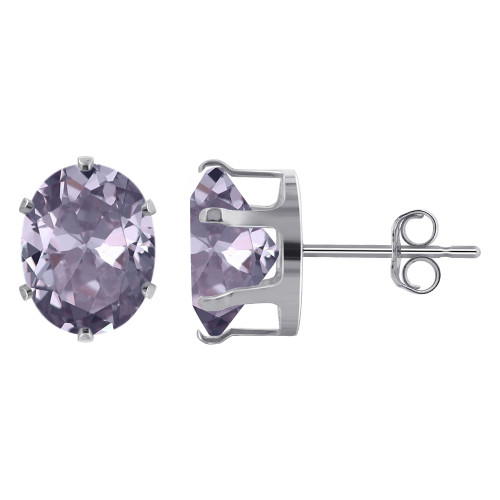 9 x 7mm Oval Lavender Color Cubic Zirconia CZ February Birthstone Sterling Silver Stud Earrings