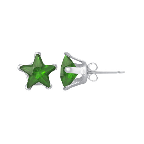 5mm Star Shape Emerald Color CZ Cubic Zirconia May Birthstone Sterling Silver Stud Earrings