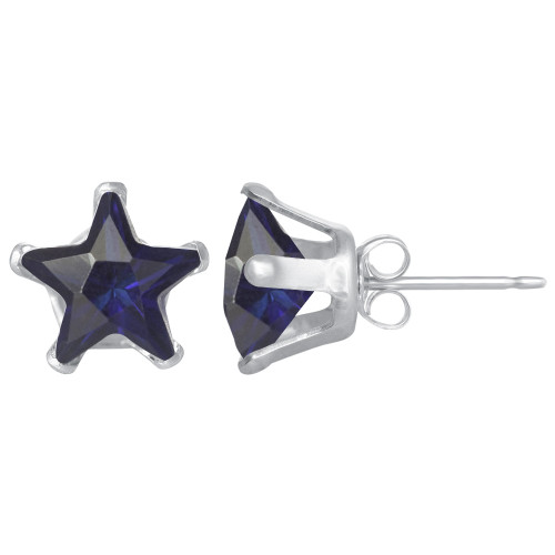 Star Shape Blue Sapphire Color CZ Sterling Silver Stud Earrings